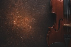 Violin on a black background,Classical violin isolated on dark background. Studio shot of old violin. Classical musical instrument,Top view violin black background