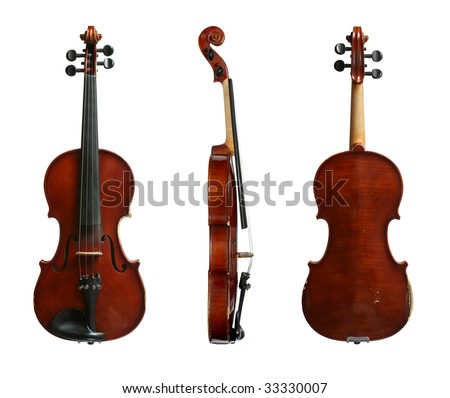 Violin on a white background in three projections. The top view, sideways and from below.