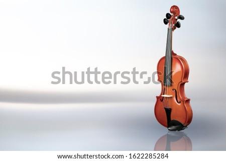 Violin on pastel background. Classic body violin Stock fotó ©