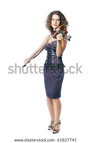 violin player isolated Violinist Young beautiful woman playing violin on white background - stock photo