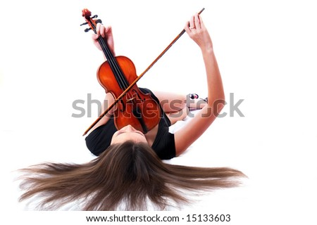 Violin player posing isolated over white background