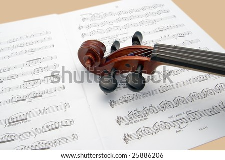 Violin scroll resting on a sheet music