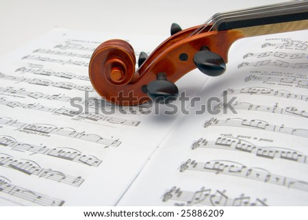 Violin scroll resting on a sheet music