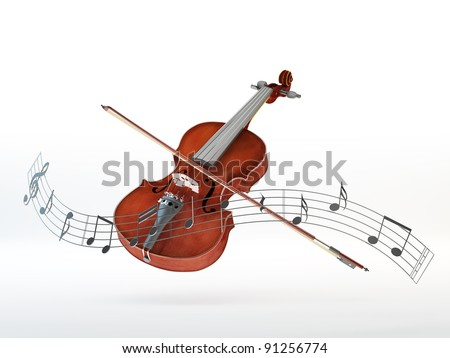 Violin with a bow surrounded by a line of floating musical notes