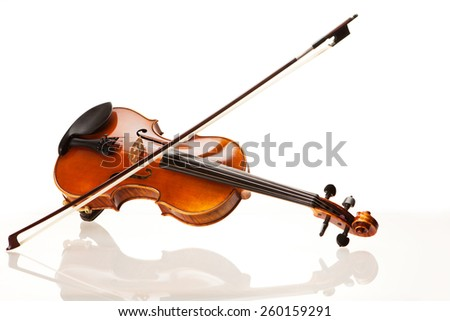 Violin with bow in front of white background #260159291