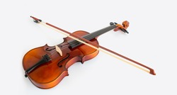 violin with bow in white background