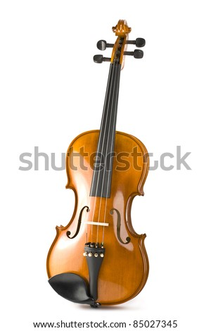 violin with shadow isolated on white