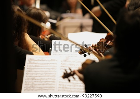 violinists during a classical concert music