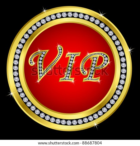 Vip golden icon with diamonds, vector version in my portfolio