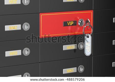 vip safe deposit boxes, 3D rendering #488579206
