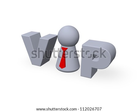 vip tag with play figure - 3d illustration