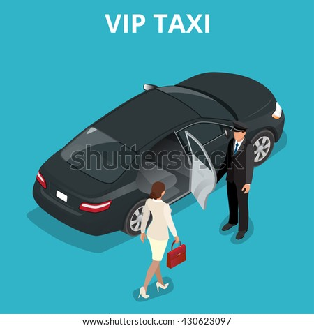 VIP taxi concept. A pretty business woman getting into a taxi cab. VIP service  flat 3d  isometric illustration.