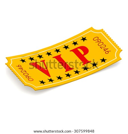 VIP ticket on white background image with hi-res rendered artwork that could be used for any graphic design.