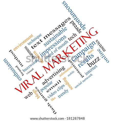 Viral Marketing Word Cloud Concept angled on a Blackboard with great terms such as buzz, trendy, advertising and more.
