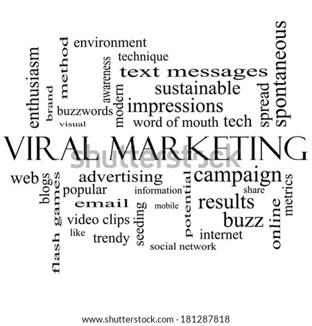 Viral Marketing Word Cloud Concept in black and white with great terms such as buzz, trendy, advertising and more.