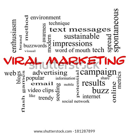 Viral Marketing Word Cloud Concept in red caps with great terms such as buzz, trendy, advertising and more.