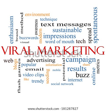 Viral Marketing Word Cloud Concept on a Blackboard with great terms such as buzz, trendy, advertising and more.
