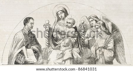 Virgin Mary and baby Jesus. After painting of De Madrazo, published on L'Illustration, Journal Universel, Paris, 1860
