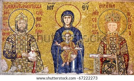 Virgin Mary holding the Christ Child. Byzantine mosaic art.