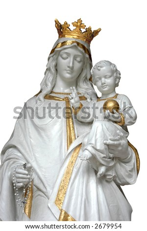 Virgin Mary (Mother Mary) with Baby Jesus - isolated in white with clipping path