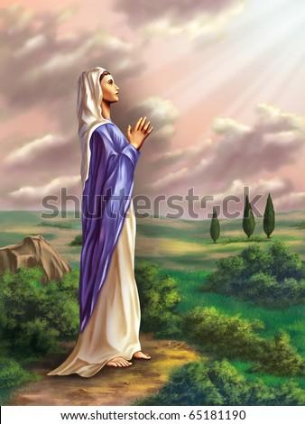 Virgin Mary praying in a beautiful country landscape. Original digital illustration.