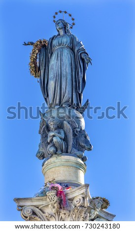 Virgin Mary Statue Immaculate Conception Column Colonna dell Immocolata Rome Italy.  1854 Pope declares Virgin Mary without sin.  Column created 1857 Pope puts flowers on statue for Christmas.  #730243180