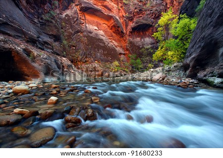 Virgin River cascades in the The Narrows of Zion Canyon - southwest Utah