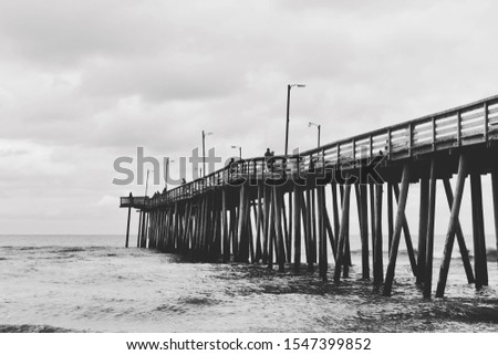 Virginia Beach Fishing Pier in Black and White #1547399852