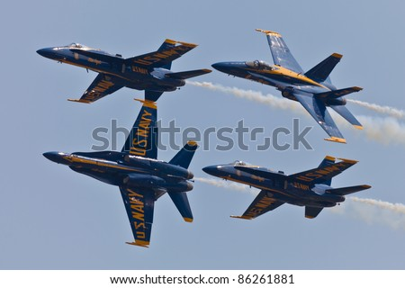 VIRGINIA BEACH  - MAY 4:US Navy Blue Angels performing demo routine flying special painted f-18 Hornets on  May 4, 2011 in Virginia Beach. Blue Angels are the oldest demonstration team in the world