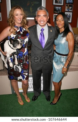 Virginia Madsen with Cesar Millan and Jada Pinkett Smith  at the party to celebrate the 100th Episode of 'Dog Whisperer'. Boulevard 3, Hollywood, CA. 09-17-08