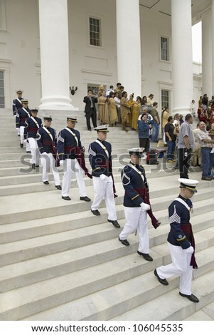Virginia Tech Corps of Cadets marching down stairs of Virginia State Capitol in Richmond Virginia, as part of the 400th anniversary of the Jamestown Settlement, May 3, 2007