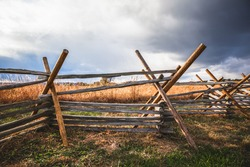 Virginia worm fence or split rail fence constructed of wood located at Oak Ridge on the field where the Battle of Gettysburg took place during the Civil War