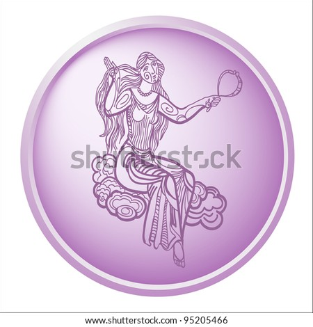 virgo, button with sign of the zodiac