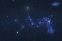 Virgo constellation stars in outer space. Zodiac Sign Virgo constellation lines. Elements of this image were furnished by NASA