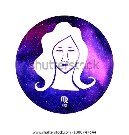 Virgo horoscope sign in twelve zodiac with galaxy stars background Stock photo ©