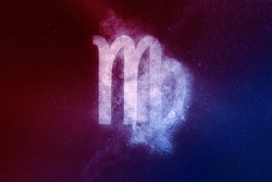 Virgo Zodiac Sign Red Blue. Abstract night sky background