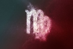 Virgo Zodiac Sign White Red. Night sky Abstract background