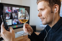 Virtual birthday party online meeting with friends and family. cCelebrating in face time call. Parties during coronavirus quarantine Long Distance Celebration. Video conferencing happy hour