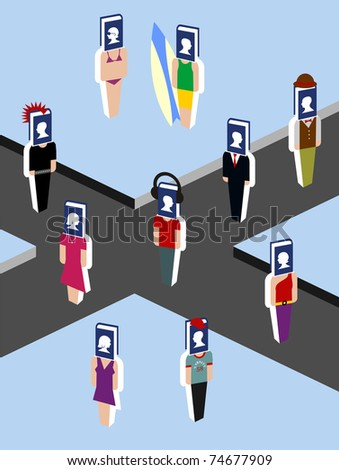 virtual community walking down the street from the social media