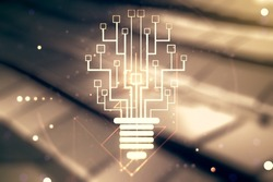 Virtual creative idea concept with light bulb and microcircuit illustration on blurry abstract metal background. Neural networks and machine learning concept. Multiexposure