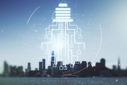 Virtual creative idea concept with light bulb and microcircuit illustration on San Francisco skyline background. Neural networks and machine learning concept. Multiexposure