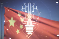 Virtual creative light bulb illustration with microcircuit on Chinese flag and blue sky background, future technology concept. Multiexposure
