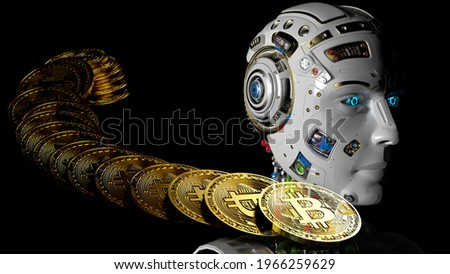 Virtual cryptocurrency money Bitcoin and Detailed appearance of the white AI robot. Blockchain network technology concept illustration. 3D CG. 3D high quality rendering. 3D illustration.