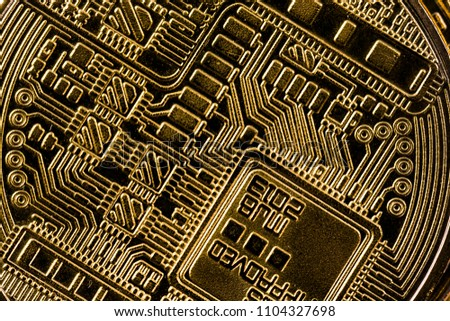 Virtual cryptocurrency money Bitcoin golden coin super macro photography.