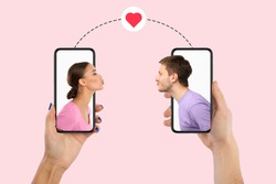 Virtual Date, Celebrating Valentine's Day Online. Creative collage of young couple blowing virtual air kissing from the screen of their smartphones, boyfriend and girlfriend holding gadgets