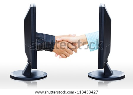 Virtual handshake,  Internet business concept