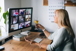 Virtual Happy hour party. Video conference get-together online meeting with friends and family. Birthday party in online call. Parties during quarantine Long Distance Celebration. Video conferencing