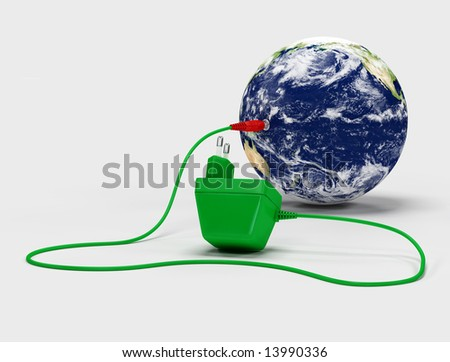 Virtual image of a charger connected to the globe - digital artwork