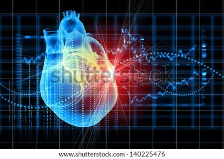 Virtual image of human heart with cardiogram