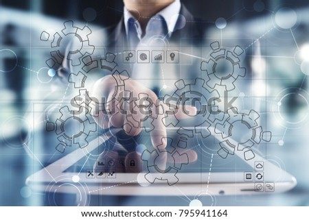 Virtual interface with mechanical gears. Automation and technology for Recruitment and HR concept. #795941164
